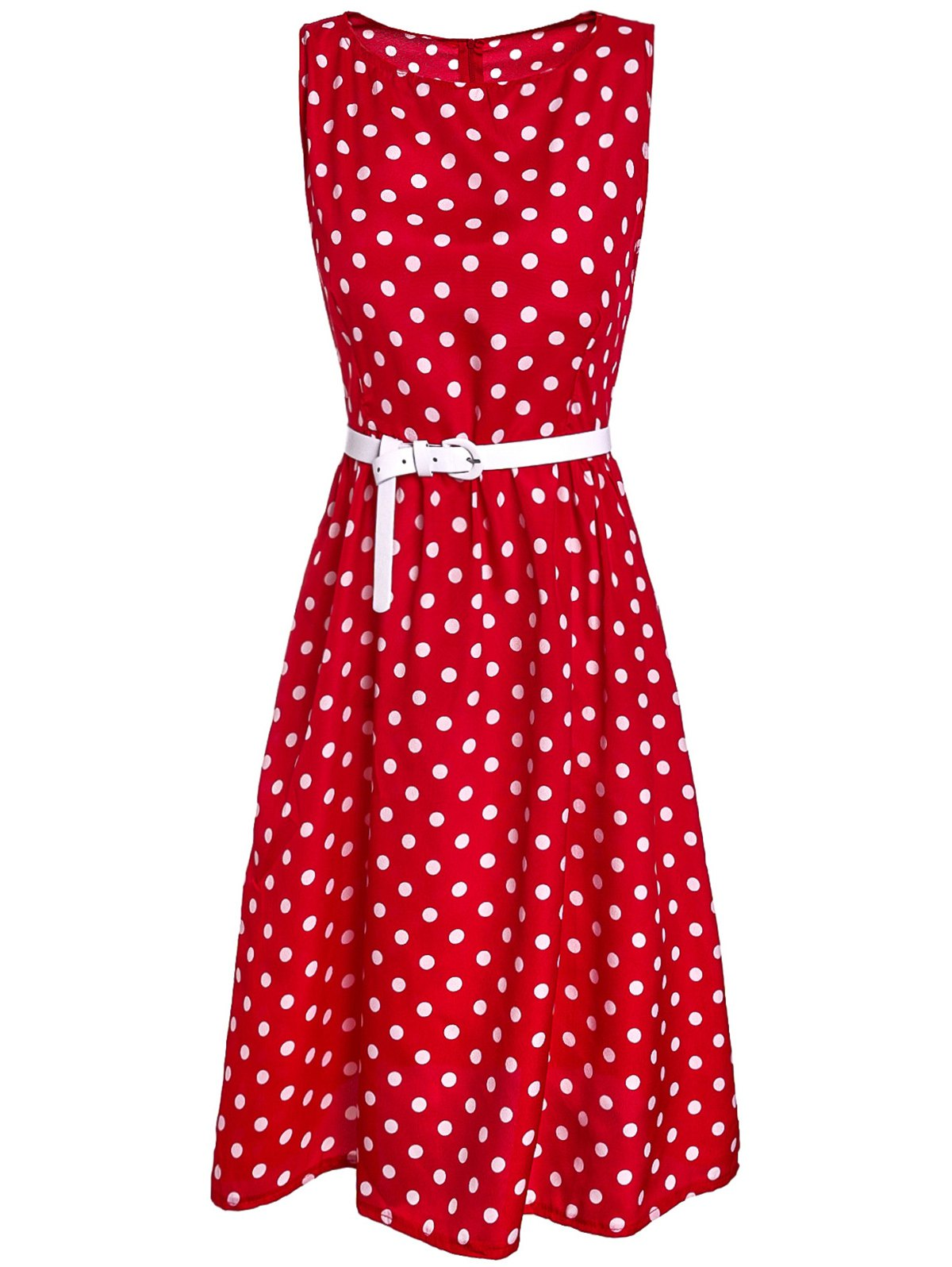 Retro Style Sleeveless Polka Dot Printed Ball Gown Dress For Women - RED M