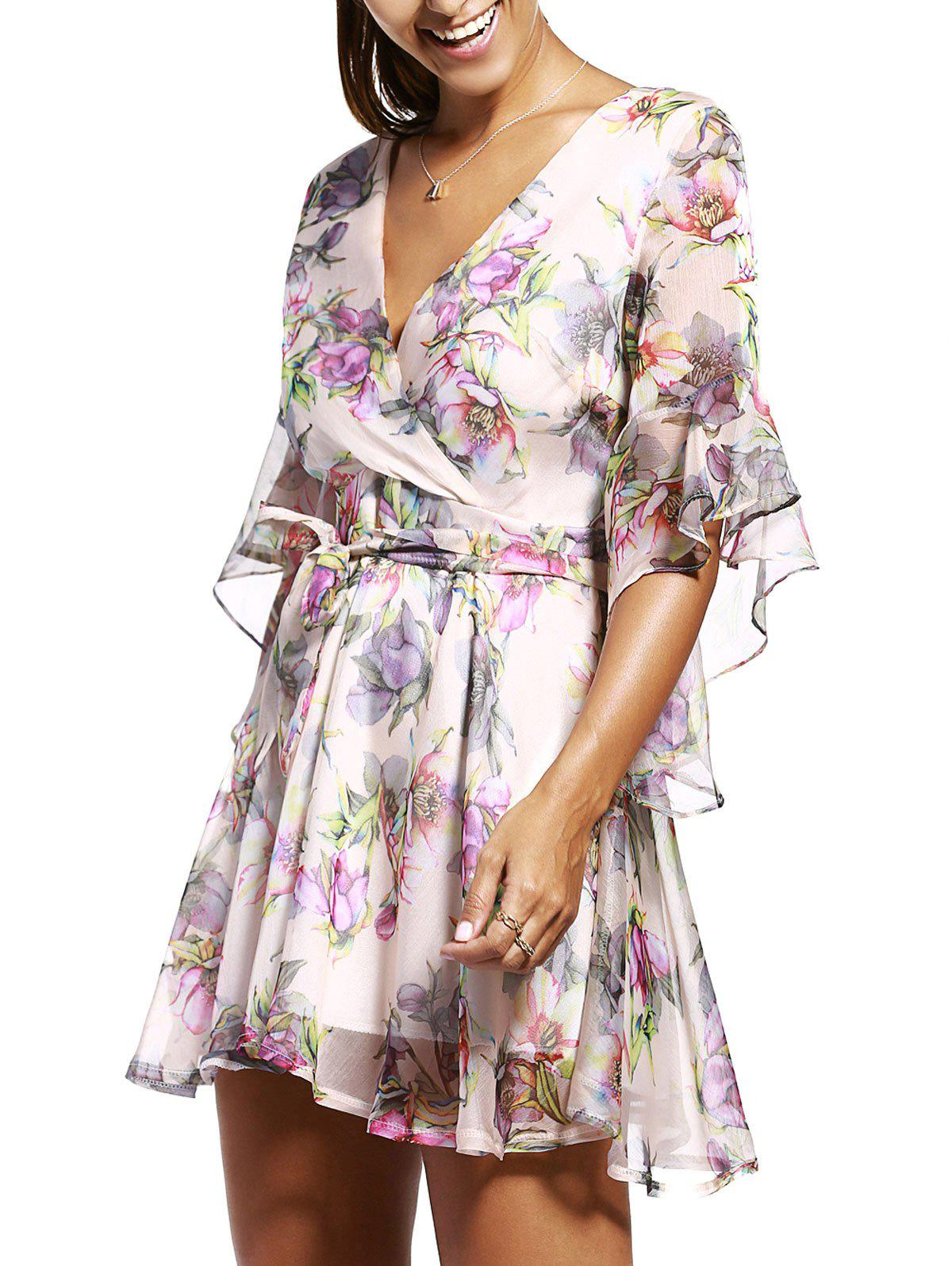 Women's Graceful Flare Sleeve V Neck Floral Print Dress - APRICOT ONE SIZE(FIT SIZE XS TO M)
