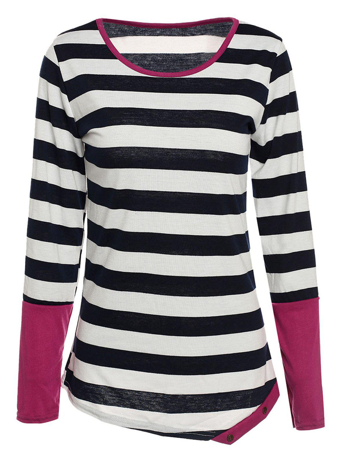 Stylish Long Sleeve Scoop Collar Asymmetrical Striped Women's T-Shirt