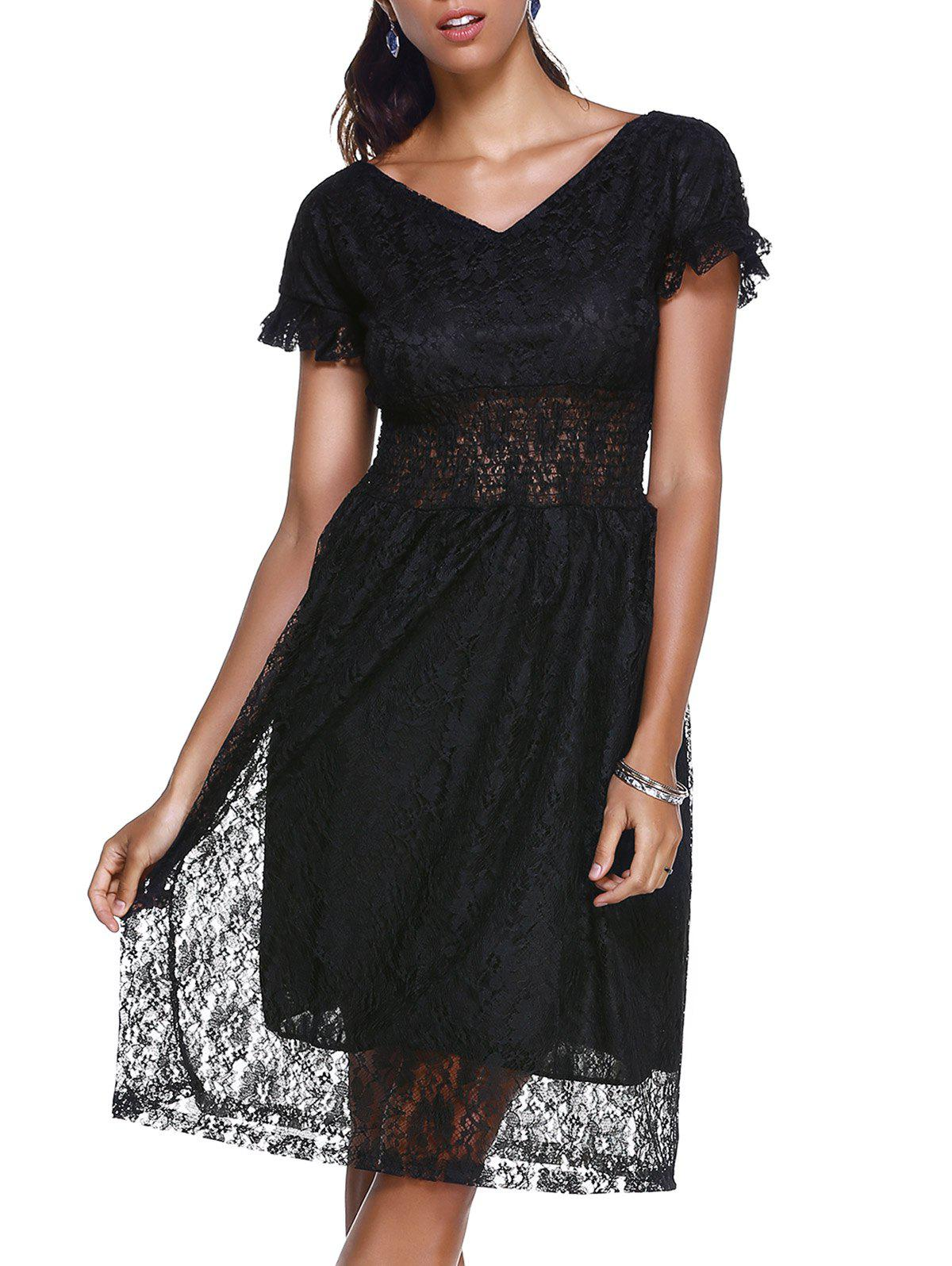 Women's Graceful Flare Sleeve V Neck High Waist Laced Dress - BLACK ONE SIZE(FIT SIZE XS TO M)