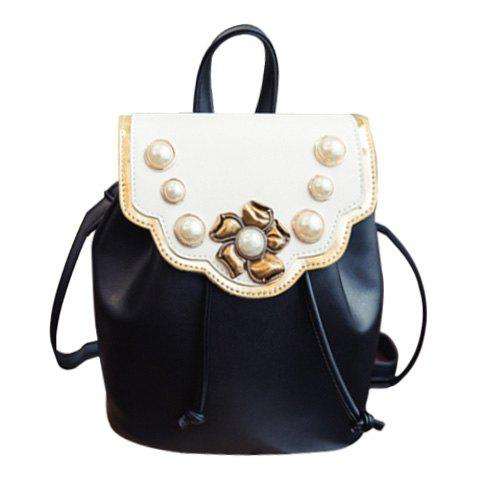 Stylish String and Faux Pearls Design Women's Backpack - BLACK