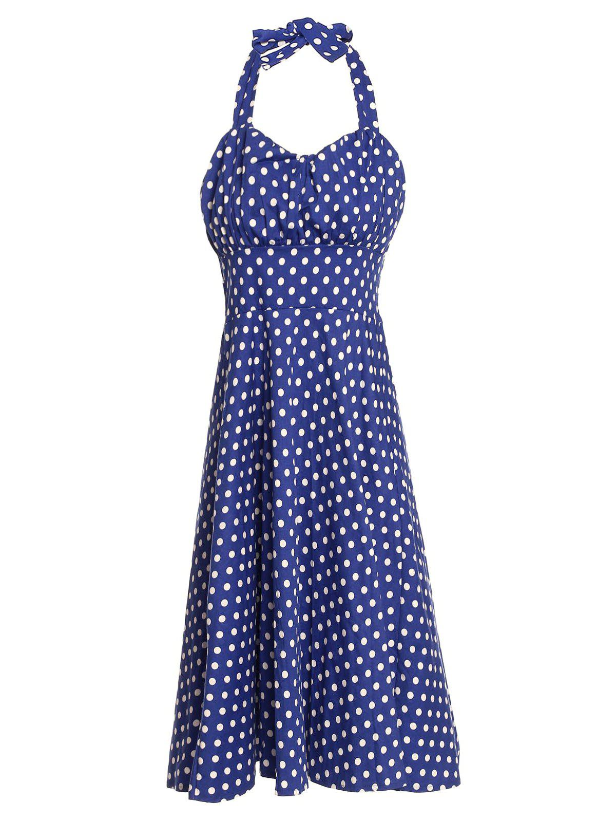 Vintage Polka Dot Print Halter Sleeveless Dress For Women - LIGHT BLUE S