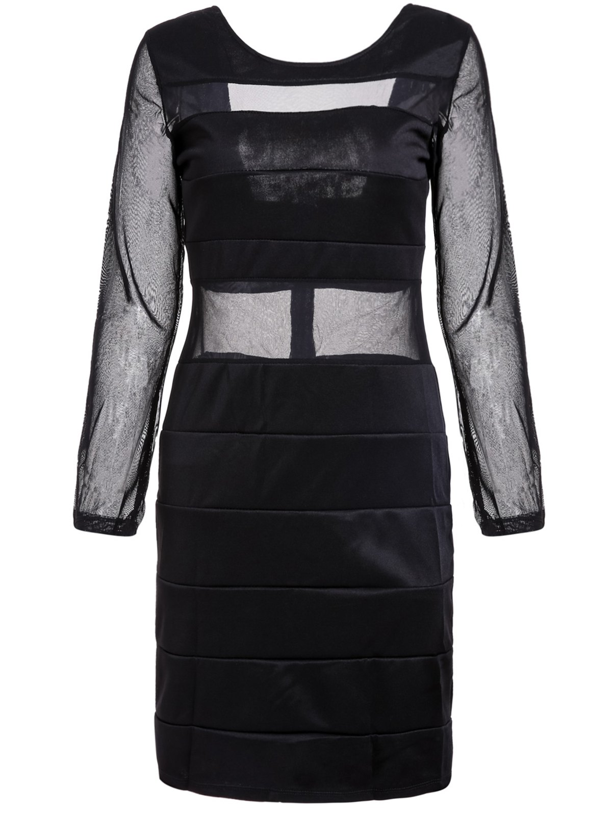 Sexy Scoop Neck Long Sleeve Mesh Splicing Backless Dress For Women - BLACK ONE SIZE