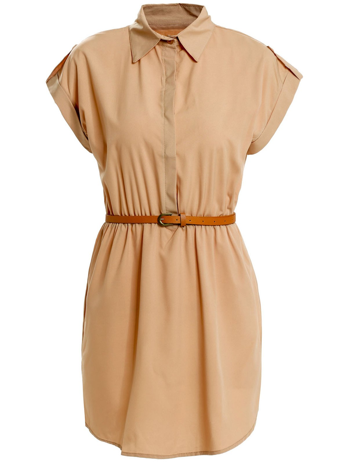 Turn Down Collar Short Sleeve Eqaulets Embellished Packet Buttock Dress - KHAKI L