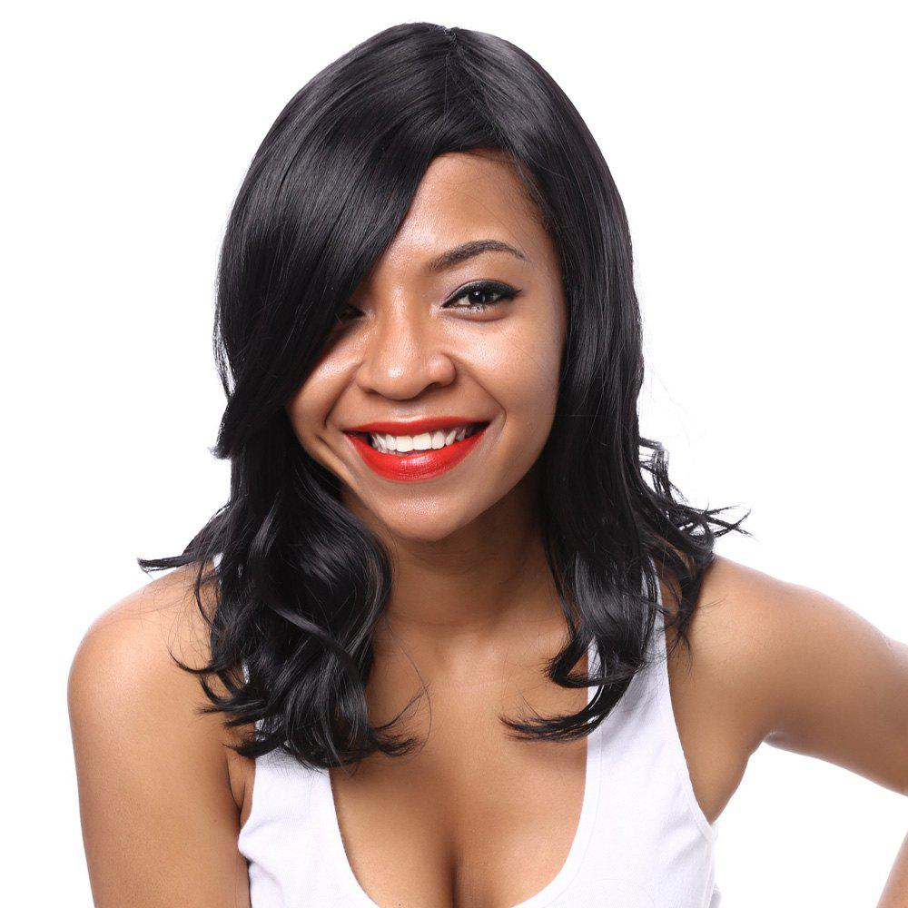 Women's Fashion Synthetic Side Bang Curly Wig - BLACK