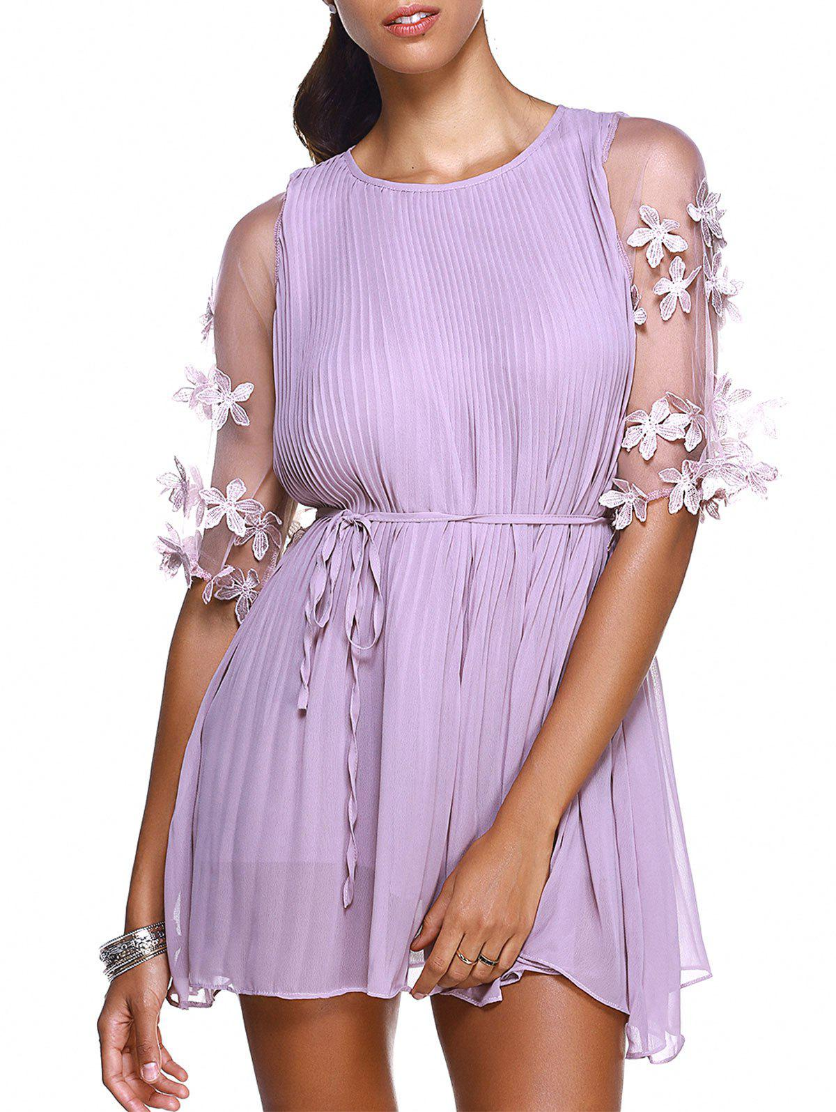 Trendy Round Collar Stereo Flower Embellished Pleated Women's Dress - LIGHT PURPLE ONE SIZE(FIT SIZE XS TO M)