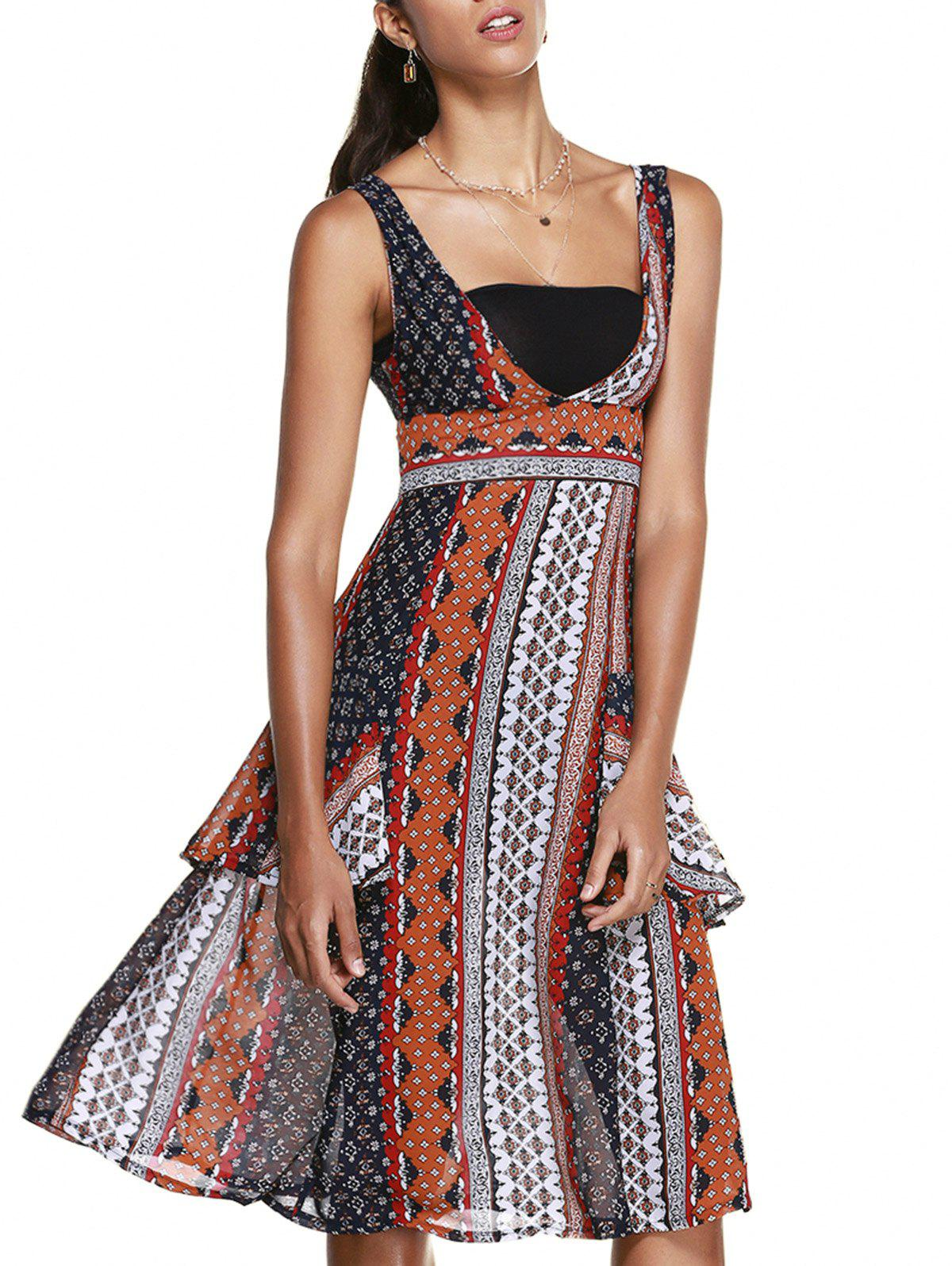 Women's Graceful Ethnic Print Sleeveless Dress - COLORMIX ONE SIZE(FIT SIZE XS TO M)