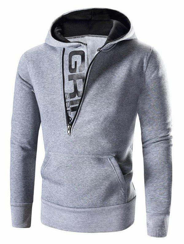 Men 's Lettre Imprimé Zipper design Sweatshirt à capuche - Gris Clair M