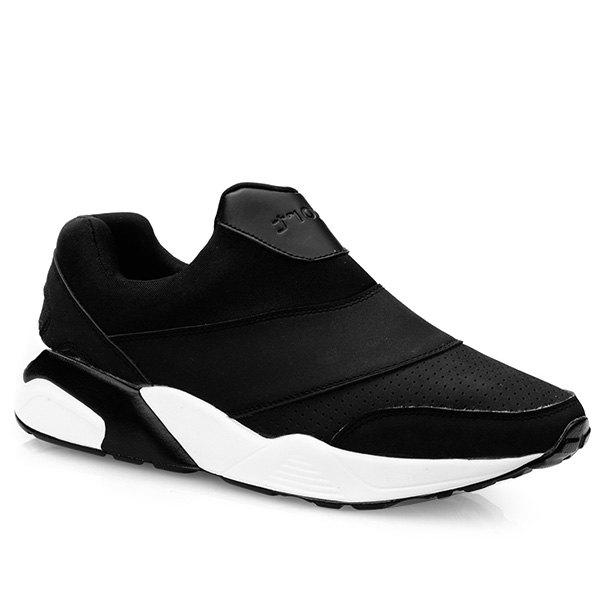 Leisure Slip-On and Solid Color Design Men's Athletic Shoes - BLACK 41