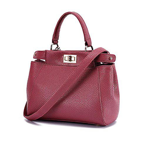Simple PU Leather and Twist-Lock Design Women's Shoulder Bag - DEEP PINK