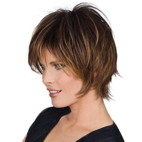 Women's Fluffy Synthetic Short Side Bang Wig - COLORMIX