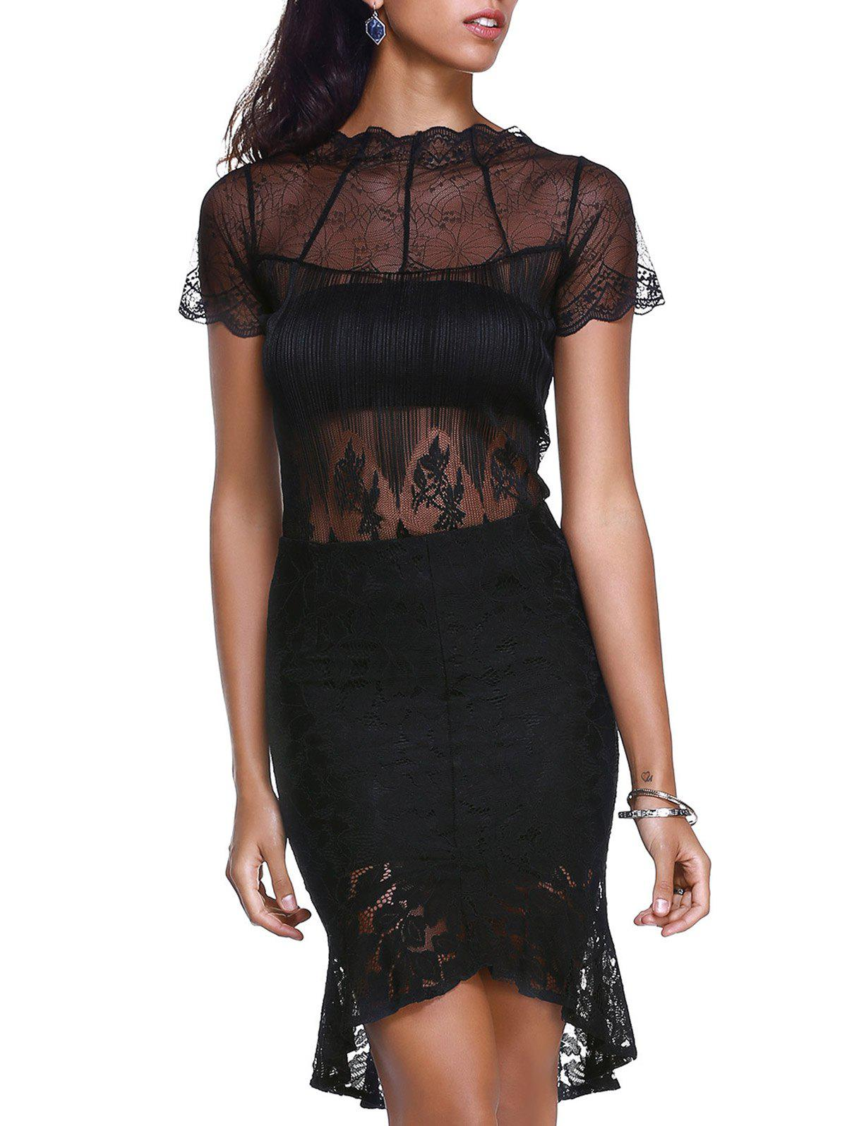 Women's Graceful See-Through Round Neck Top and Pencil Skirt - BLACK ONE SIZE(FIT SIZE XS TO M)