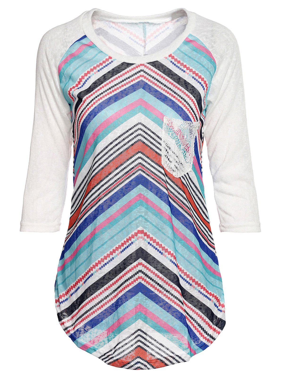 Concise Lace Spliced Sleeve Zigzag Print T-Shirt For Women - COLORMIX L