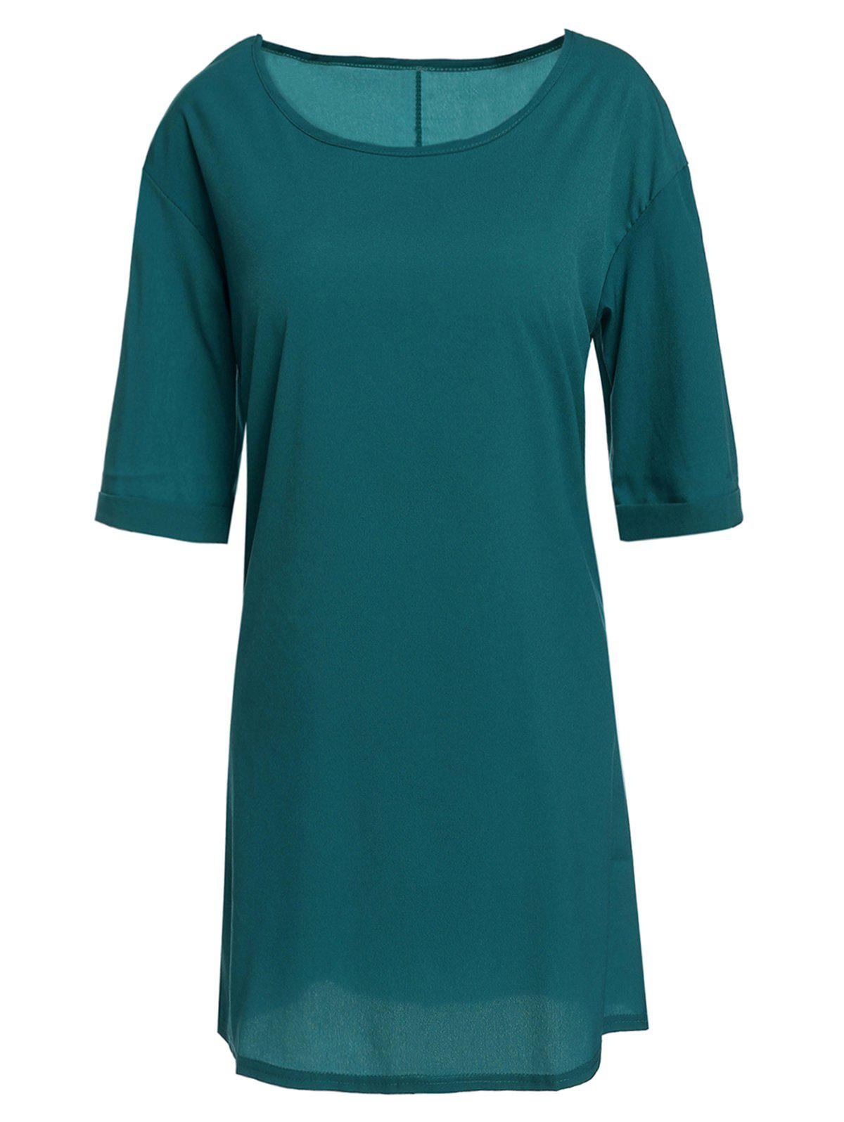 Casual Round Neck Half Sleeve Solid Color Loose-fitting Womens Dress