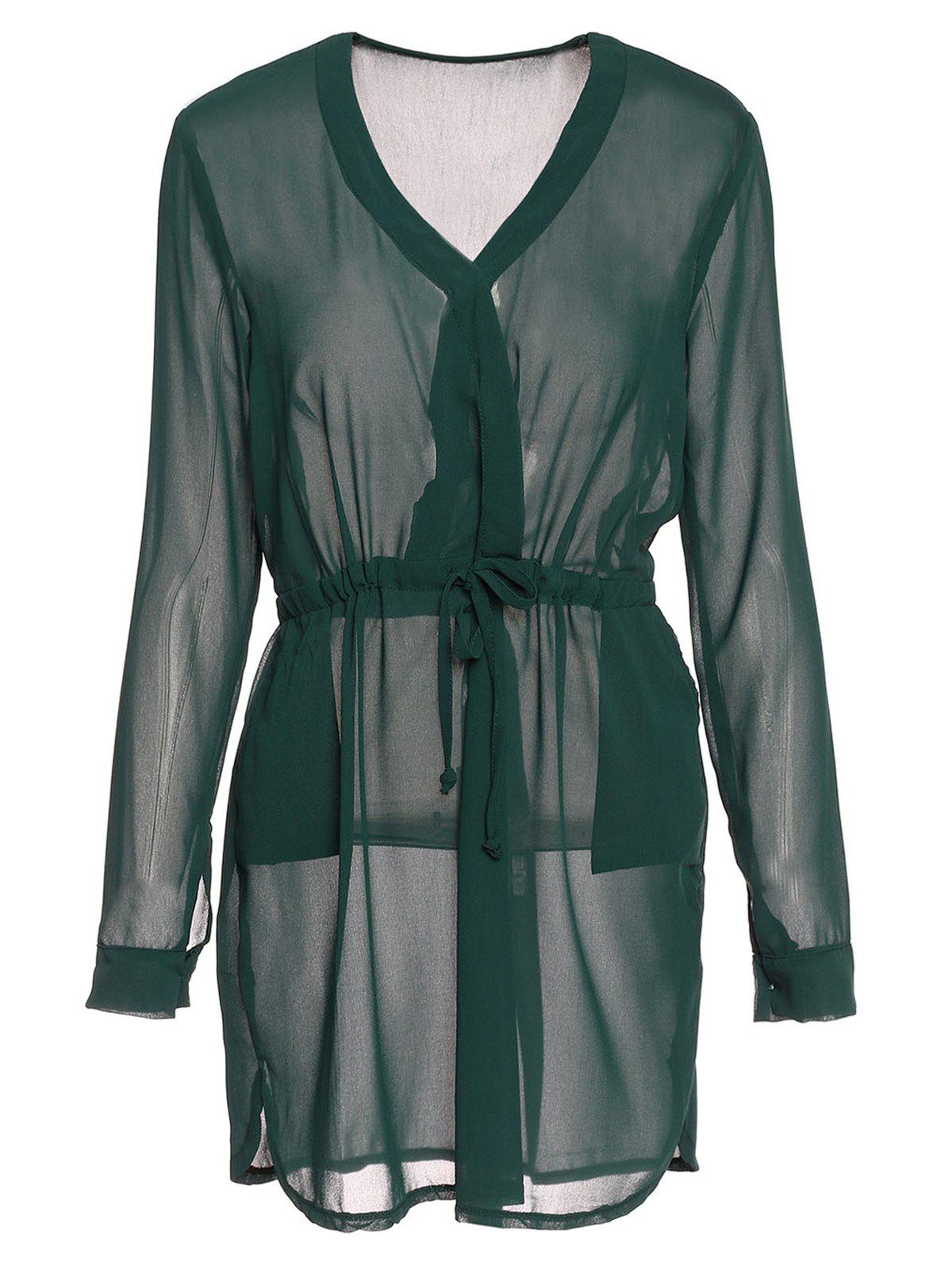 Graceful Long Sleeve Plunging Neck Drawstring Solid Color Women's Dress - BLACKISH GREEN S