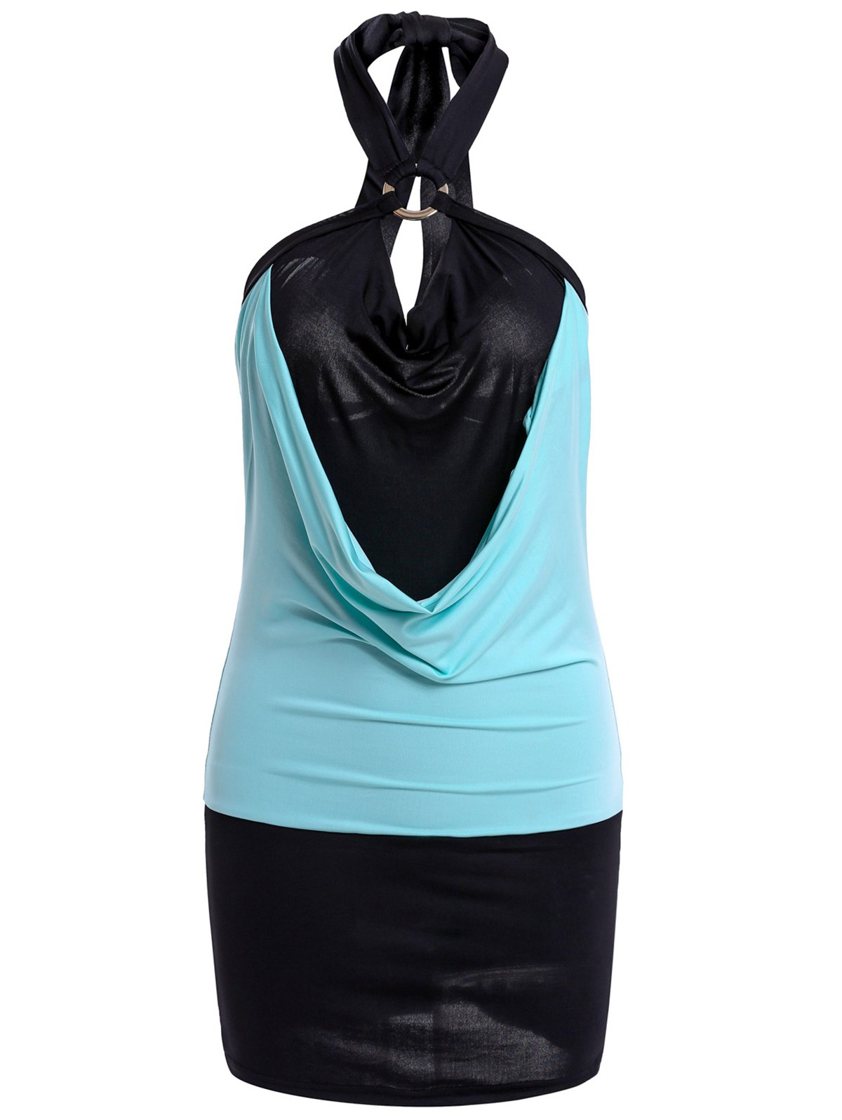 Sexy Color Block Halterneck Bodycon Dress For Women - AZURE ONE SIZE
