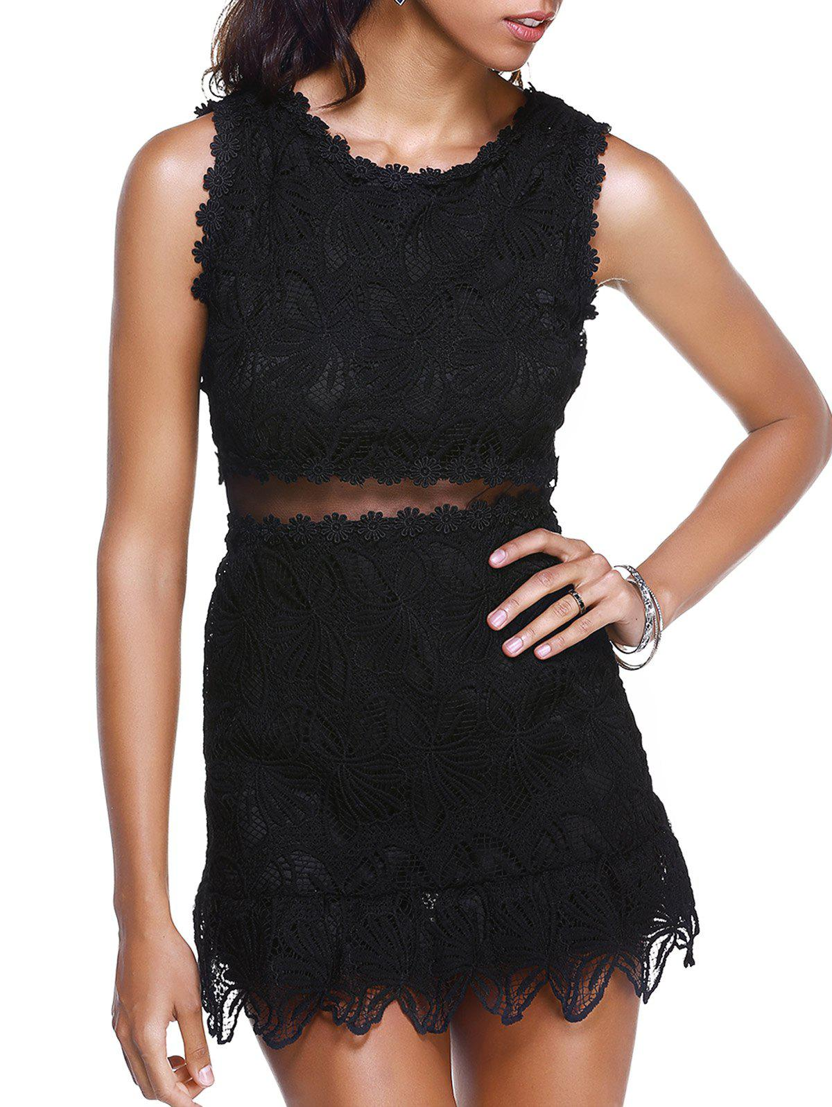 Women's Graceful See-Through High Waist Laced Dress - BLACK ONE SIZE(FIT SIZE XS TO M)
