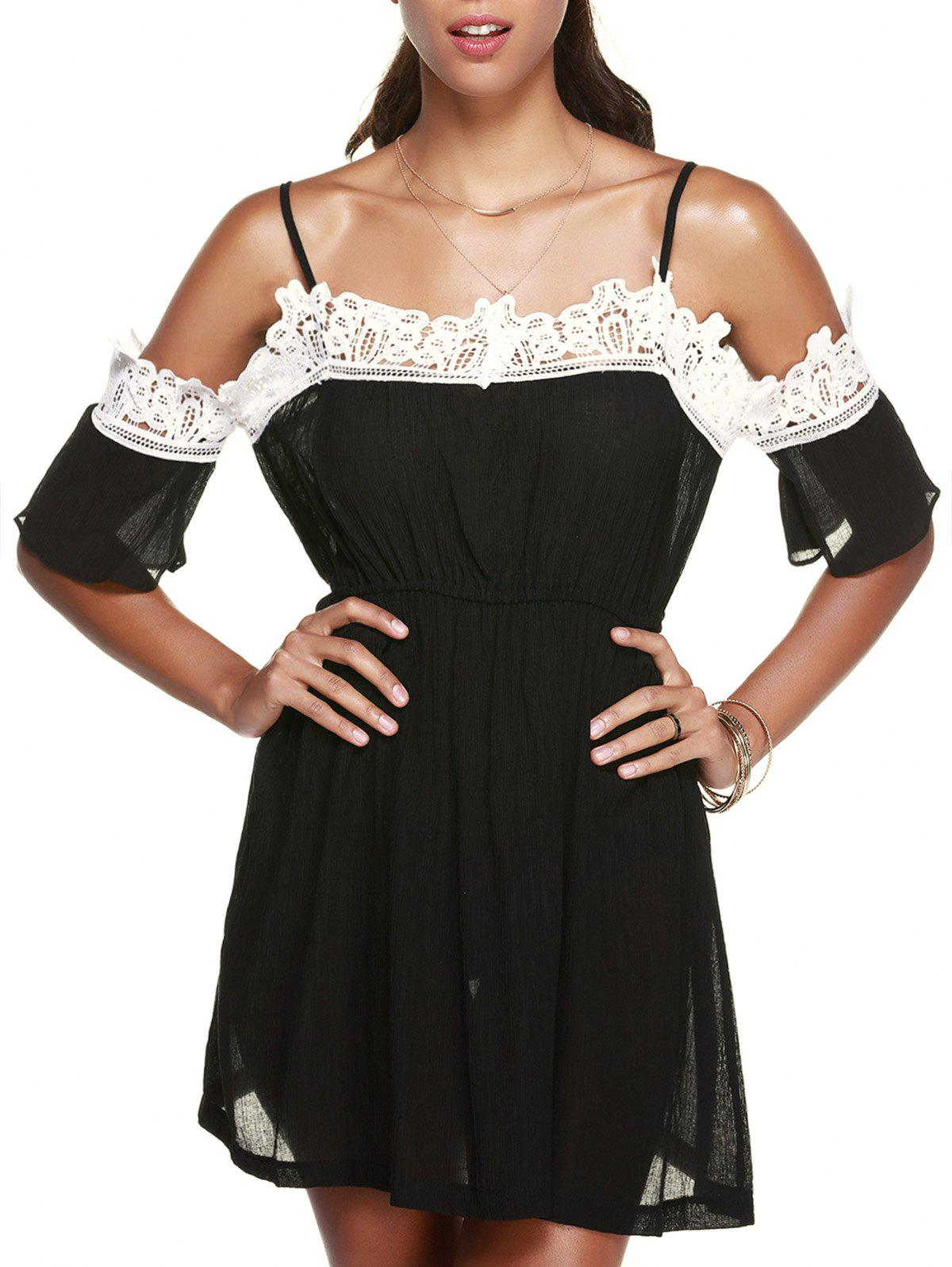 Fashionable Spaghetti Strap Slimming Lace Splicing Women's Dress - BLACK ONE SIZE(FIT SIZE XS TO M)