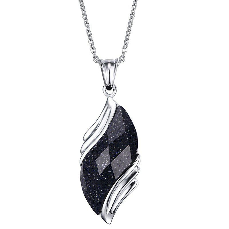 Graceful Faux Gem Wing Necklace For Women - SILVER
