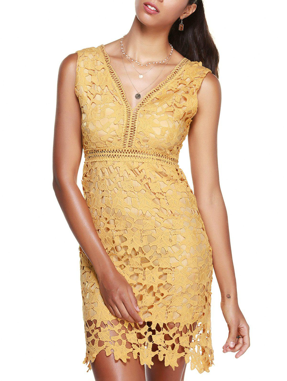 Women's Graceful V Neck High Waist Laced Dress - YELLOW ONE SIZE(FIT SIZE XS TO M)