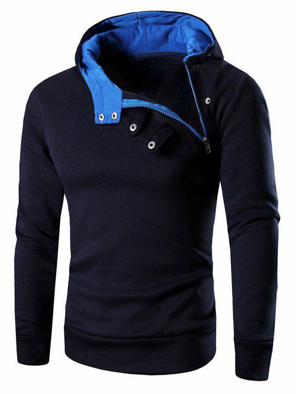 Men's Button and Zipper Design Long Sleeve Hoodie
