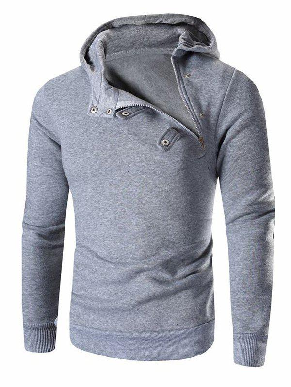 Men's Button and Zipper Design Long Sleeve Hoodie - LIGHT GRAY XL