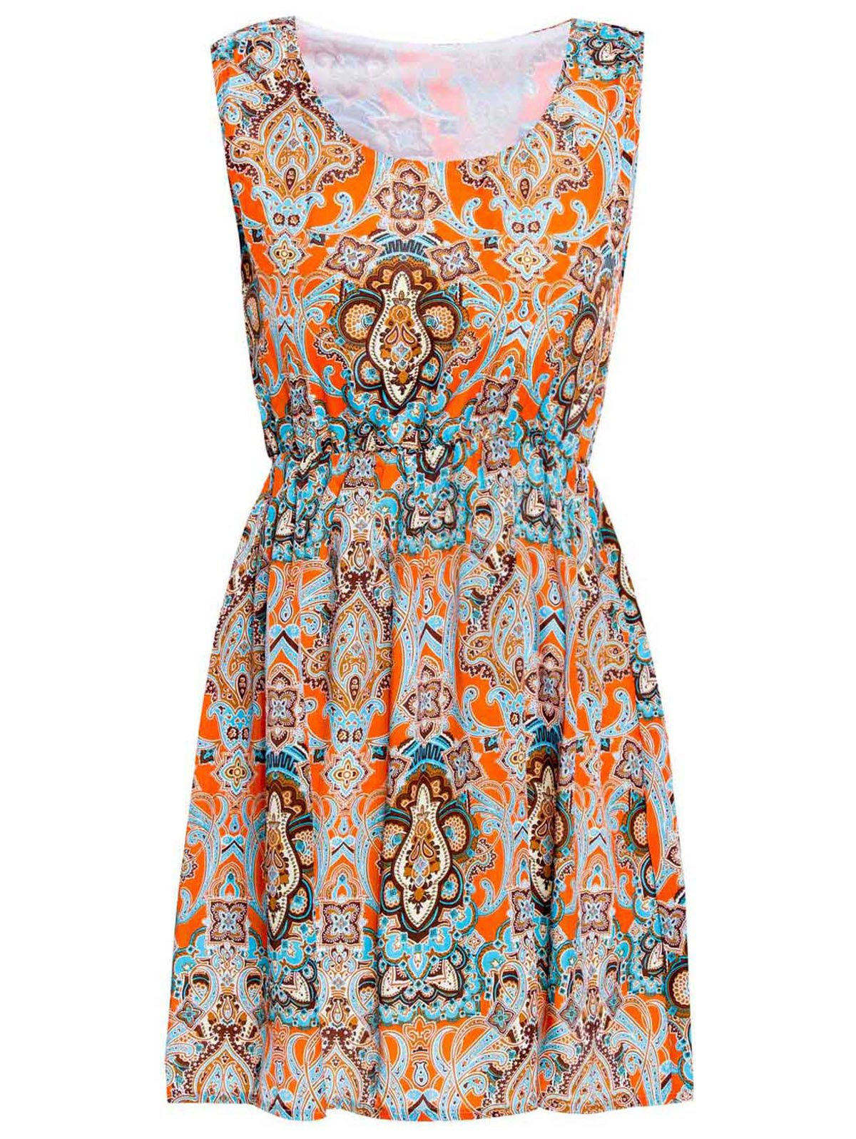 Sleeveless Scoop Neck Nipped Waist Ethnic Totem Print Casual Dress - ORANGE S