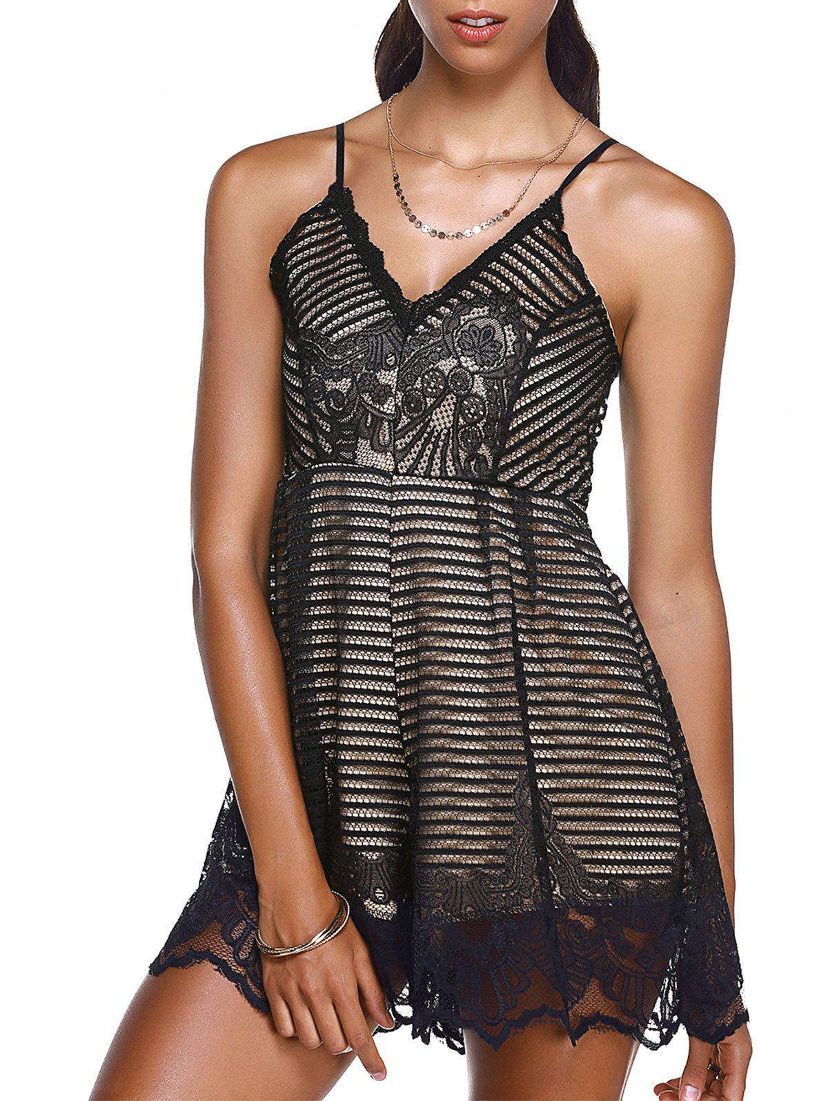 Women's Graceful Laced Embroidery Cami Romper - BLACK ONE SIZE(FIT SIZE XS TO M)