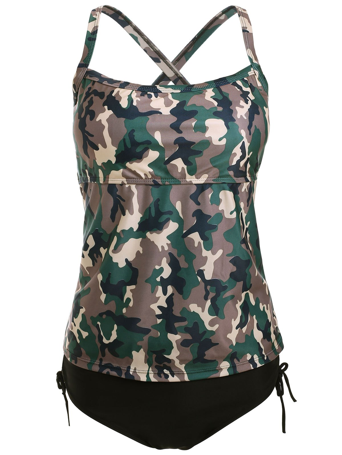 Camo Cross Back Tankini Set - CAMOUFLAGE XL