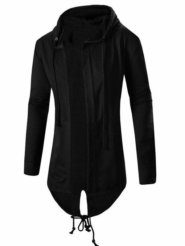 Men's Cardigan Pocket Design Hoodie Long Sleeve Jacket - BLACK L