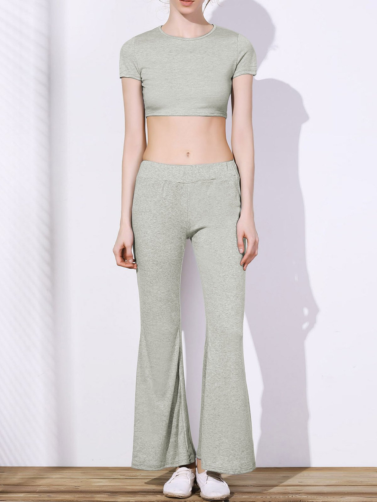 Women's Chic High Waist Pure Color Loose Flare Pants - GRAY S