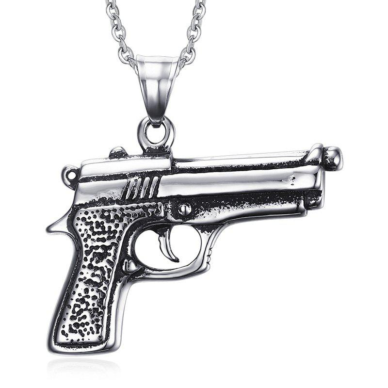Chic Gun Shape Necklace For Men - SILVER