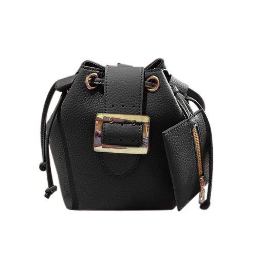 Chic Buckle and Solid Color Design Women's Crossbody Bag - BLACK