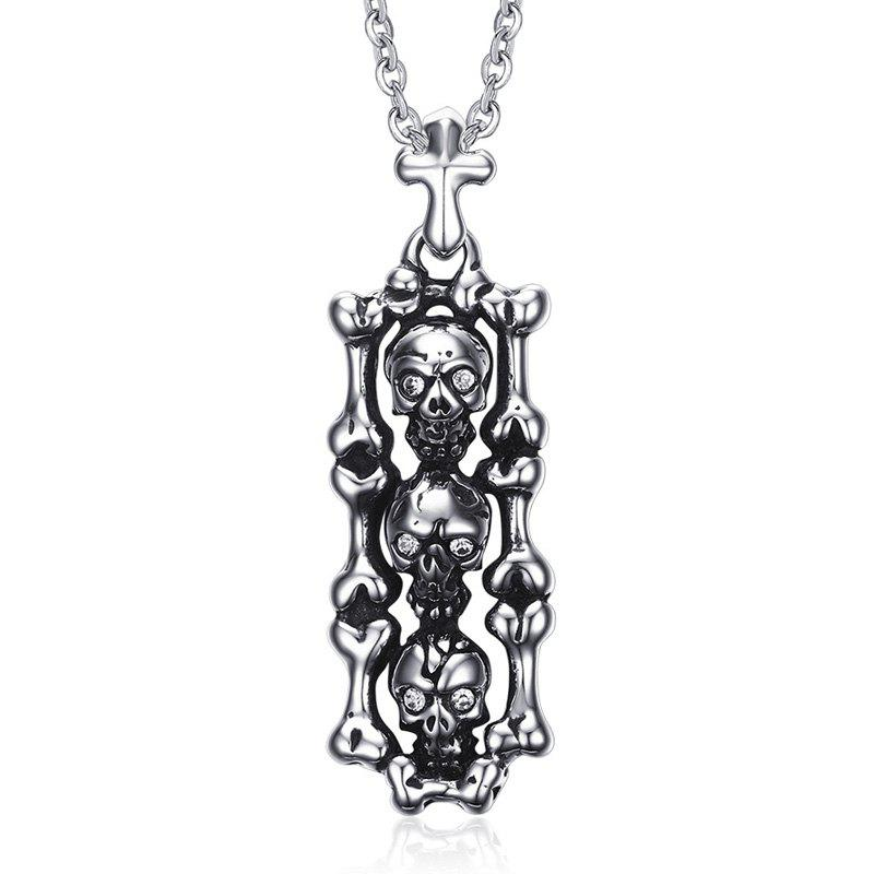 Chic Skull Crucifix Necklace For Men - SILVER