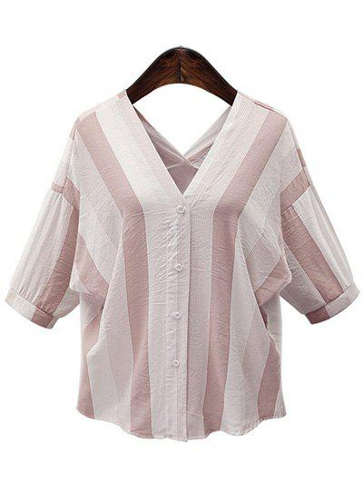 Casual Women's V-Neck 3/4 Sleeve Striped Button Embellished T-Shirt - APRICOT 2XL