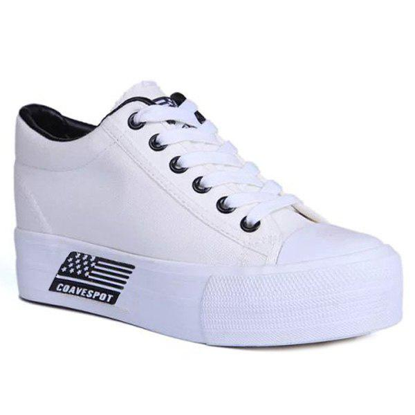 Canvas Hidden Wedge Sneakers - WHITE 39