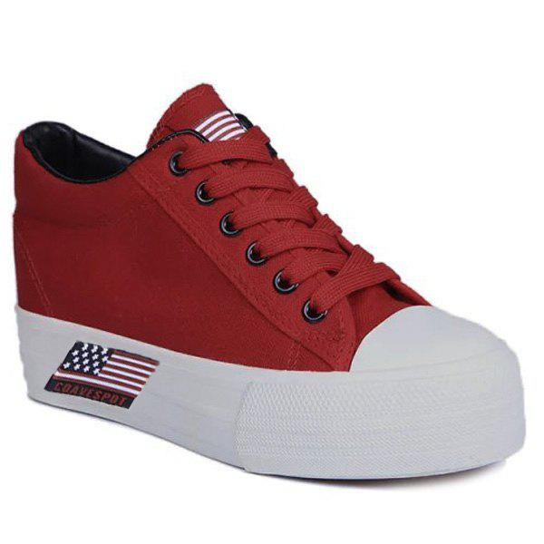 Casual Canvas and Lace-Up Design Women's Athletic Shoes - RED 39