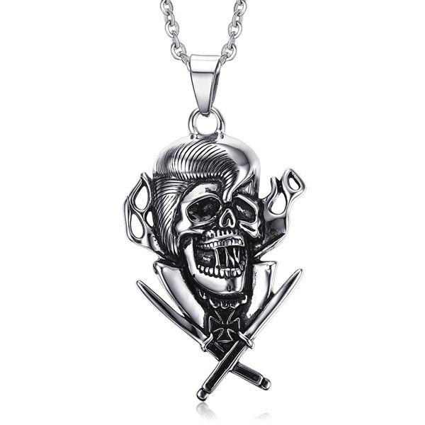 Chic Skull Crucifix Sword Necklace For Men - SILVER