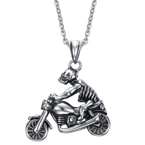 Collier Skull Chic Motorcycle For Men - Argent