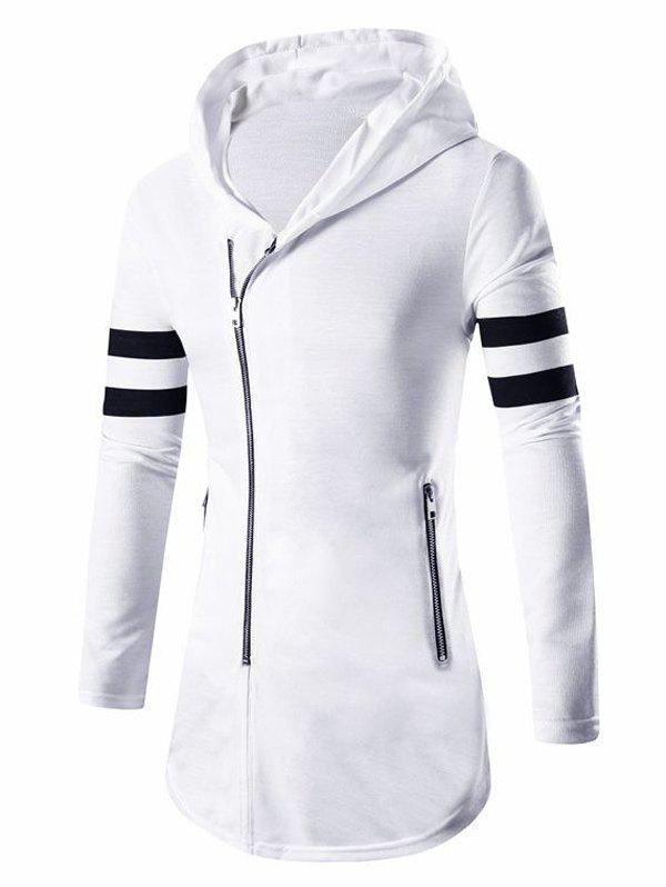 Men's Zipper Design Stripes Hoodie Long Sleeve Jacket