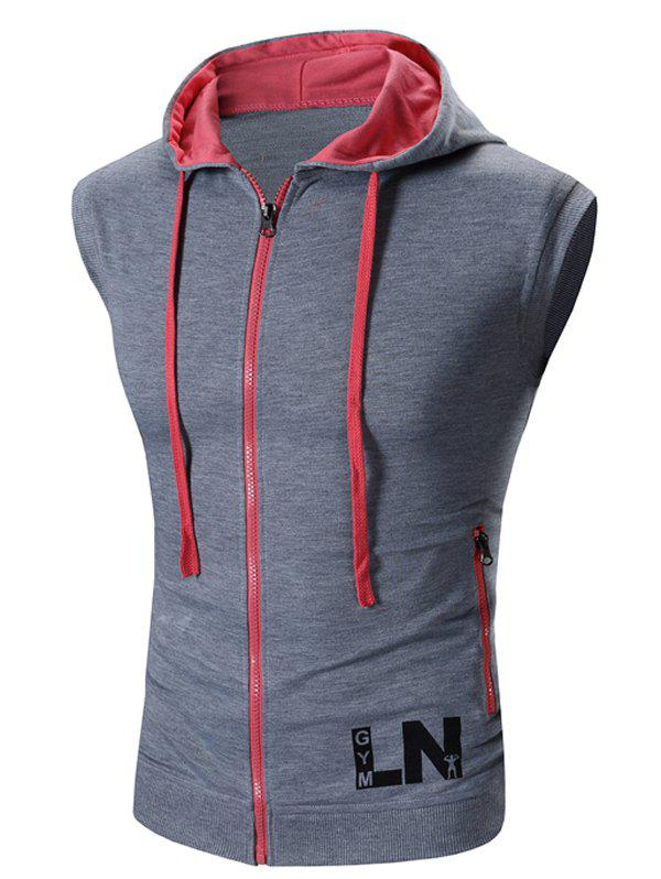 Men's Hooded Zipper Design Waistcoat