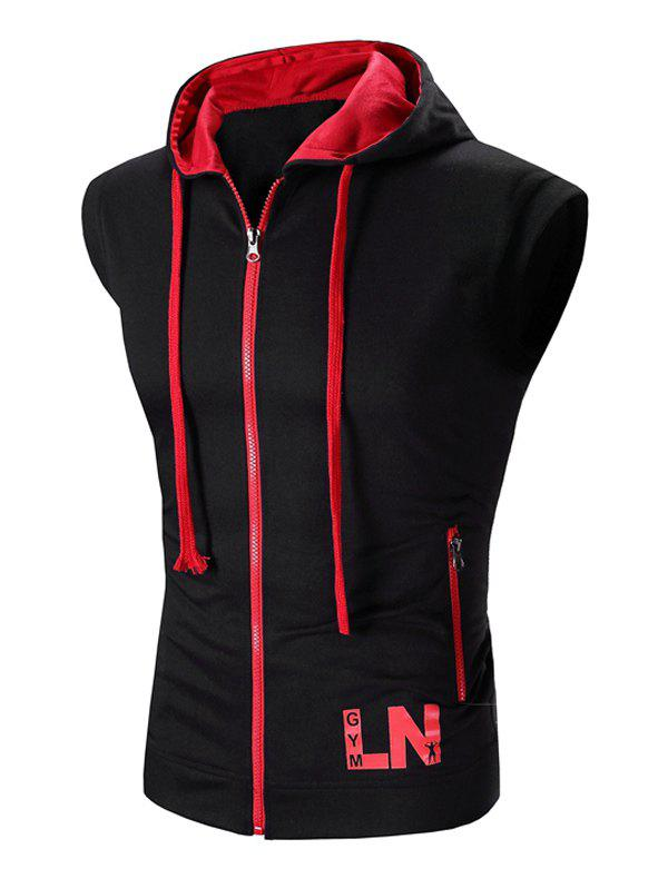 Men's Hooded Zipper Design Waistcoat - BLACK L