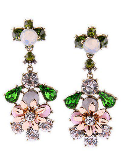Rhinestone Faux Gem Floral Earrings - COLORMIX