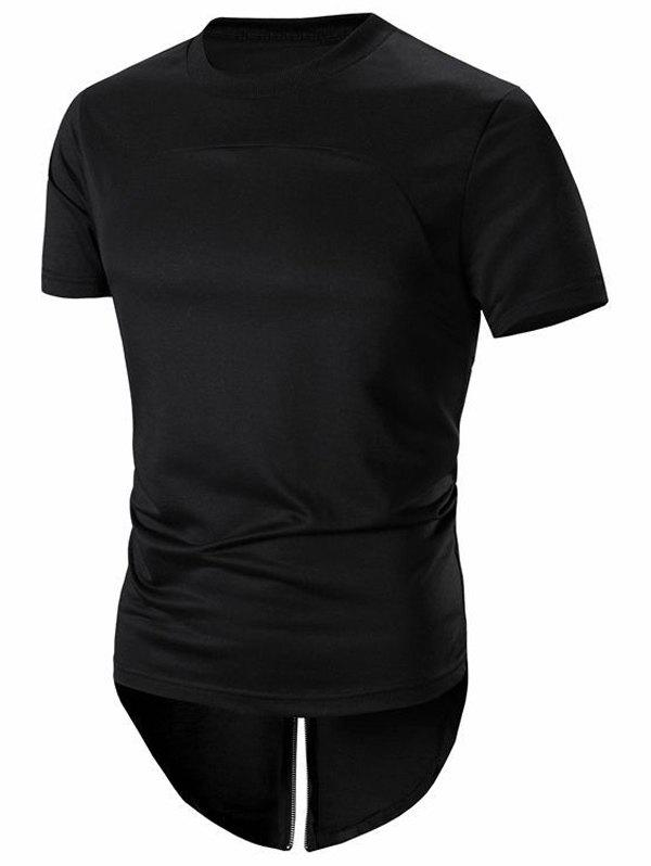 Men's Hip-Hop Stylish Back Zipper Design T-Shirt - BLACK 2XL