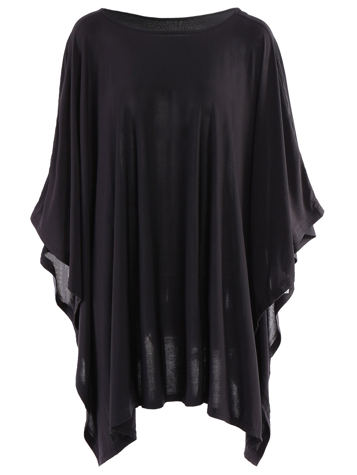 Simple Style Solid Color 3/4 Batwing Sleeve Pleated Blouse For Women - BLACK L