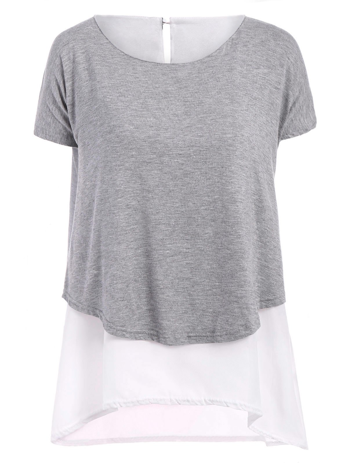 Casual Color Block Short Sleeve Chiffon T-Shirt For Women