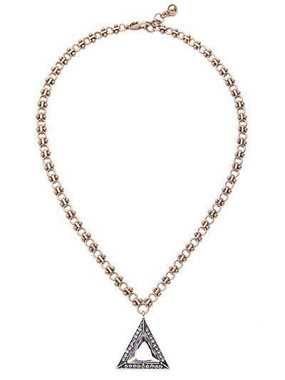 Triangle Rhinestone Faux Gem Necklace -  GOLDEN