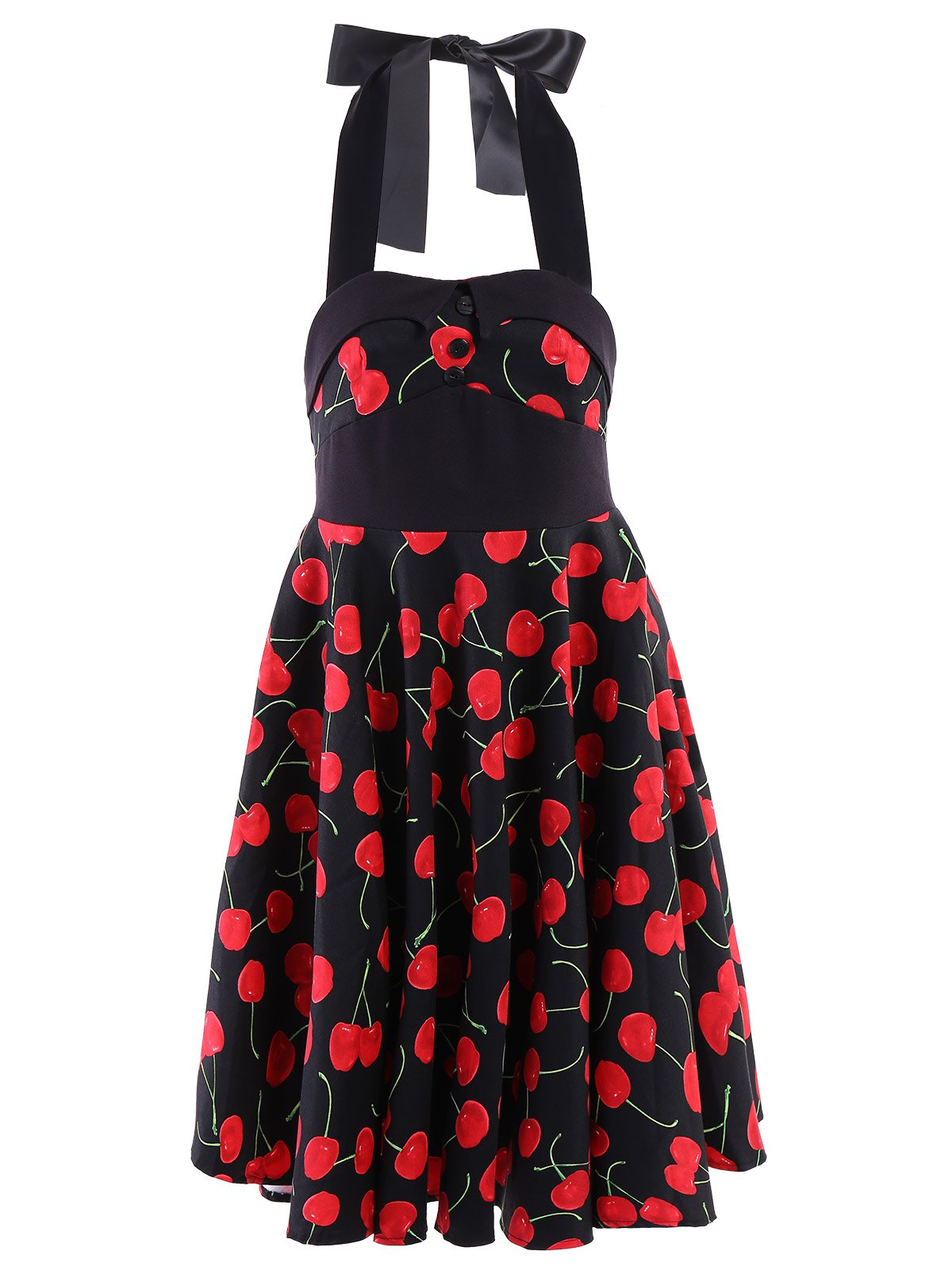 Vintage Women's Halterneck Cherry Print A-Line Dress - RED M