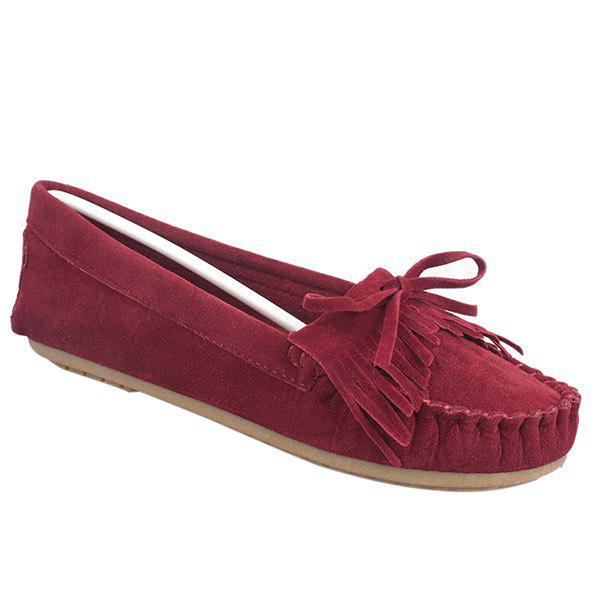 Stylish Stitching and Fringe Design Women's Flat Shoes - WINE RED 38
