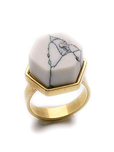 Hexagon Natural Stone Ring - GOLDEN